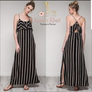 NEW Black Striped Maxi Dress